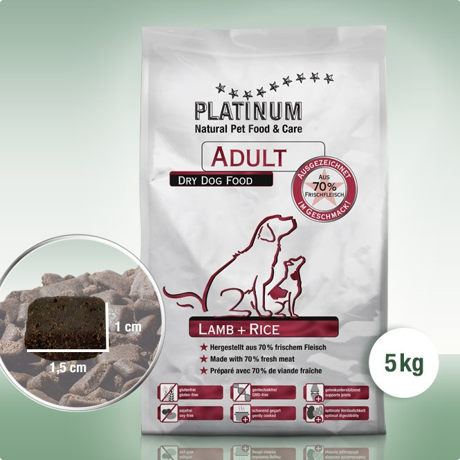 Platinum Adult Lamb+Rice 5 kg