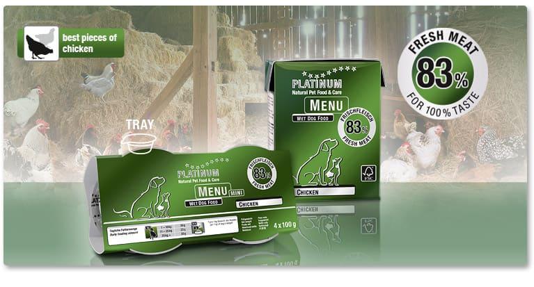 Мека Храна за Кучета PLATINUM MENU Пиле