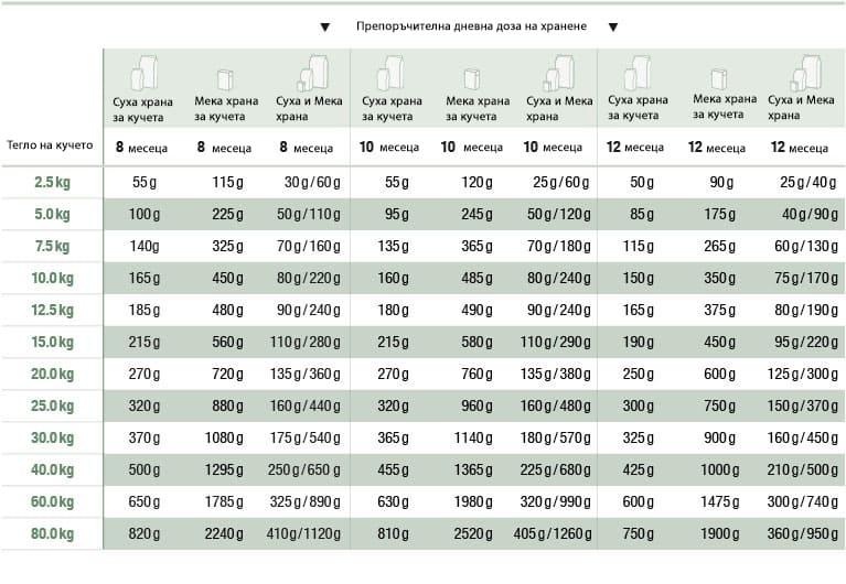 Ръководство за хранене на кучета според възрастта и теглото