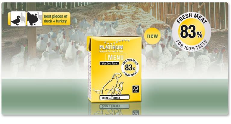 Полувлажна Храна за Кучета PLATINUM MENU с 83% Месо от Патица & Пуйка