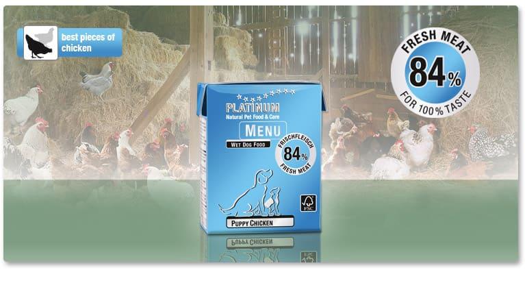 Храна за Малки Кученца PLATINUM MENU Puppy с 83% Прясно Пилешко